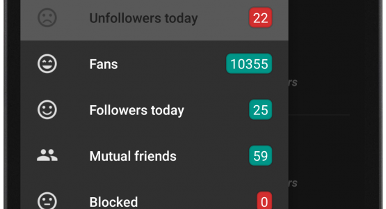 Dark theme with Unfollow Today